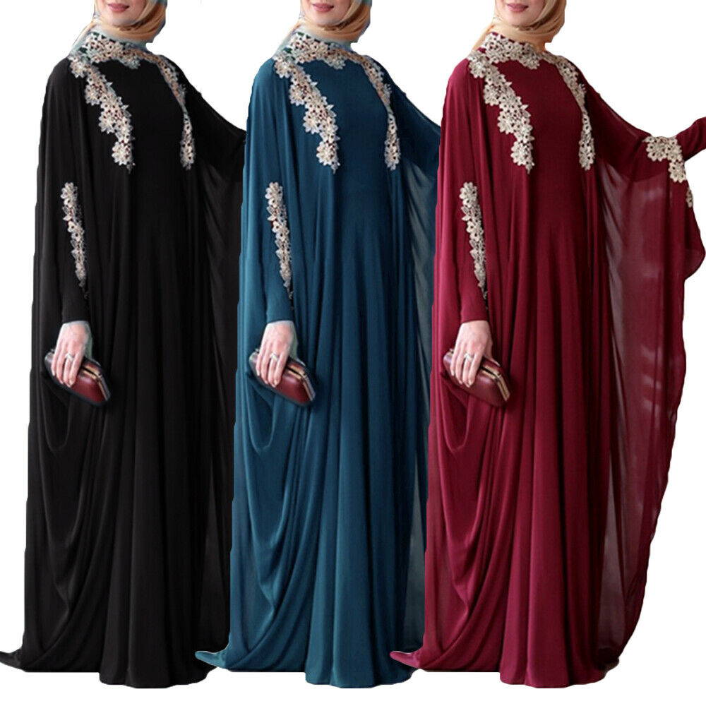 Arabic Islamic Dubai Kaftan Maxi Dress Robes Abaya Middle Eastern Muslim Kaftan Moroccan Batwing Sleeve Caftan Ramadan Turkey image