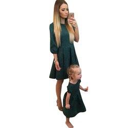 Moda mãe e filha vestido conjuntos de roupas de família vestidos sólidos manga longa moda feminina menina criança bebê magro floral vestido 2019