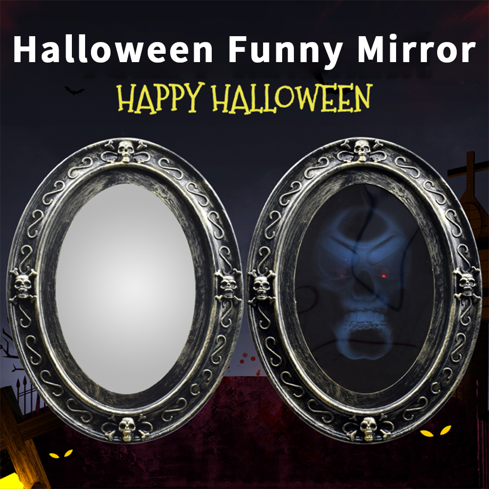 Touch Magic Mirror Dookey Halloween Speaking Mirror Door Bell Decorations Activated Scary Haunted House Mirror with Sound-Luminous Skull Props