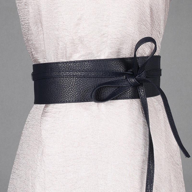 2020 Newest trendy solid Belt for Women Soft PU Leather Waistband Self Tie Bow Wrap Around Waist Band Cinch Boho Obi Belt