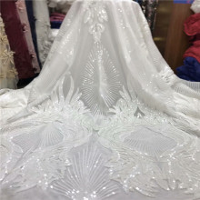 Lace-Fabric Snow-White African Flower-Embroidery French High-Quality for Wedding-J66-893