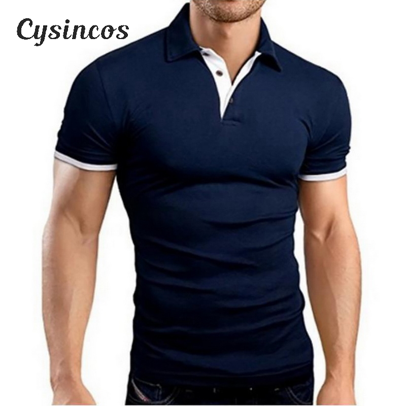 CYSINCOSMens Polo Shirt 2020 New Summer Short Sleeve Turn-over Collar Slim Tops Casual Breathable Solid Color Business Shirt