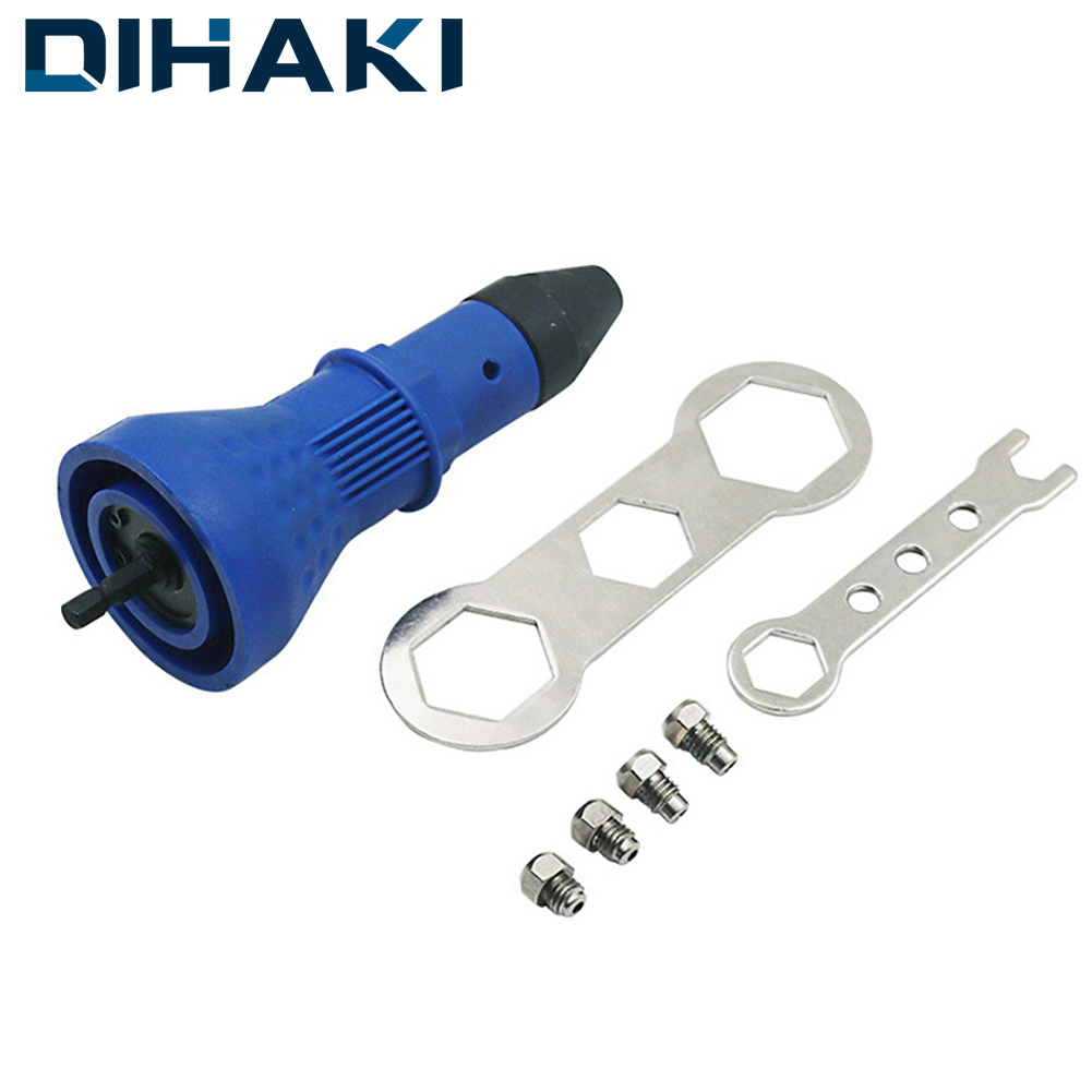 DIHAKI Cordless Riveting Drill Adaptor Electric Rivet Nut Gun Riveting Tool Insert Nut Tool Riveting Drill Adapter 2.4mm-4.8mm