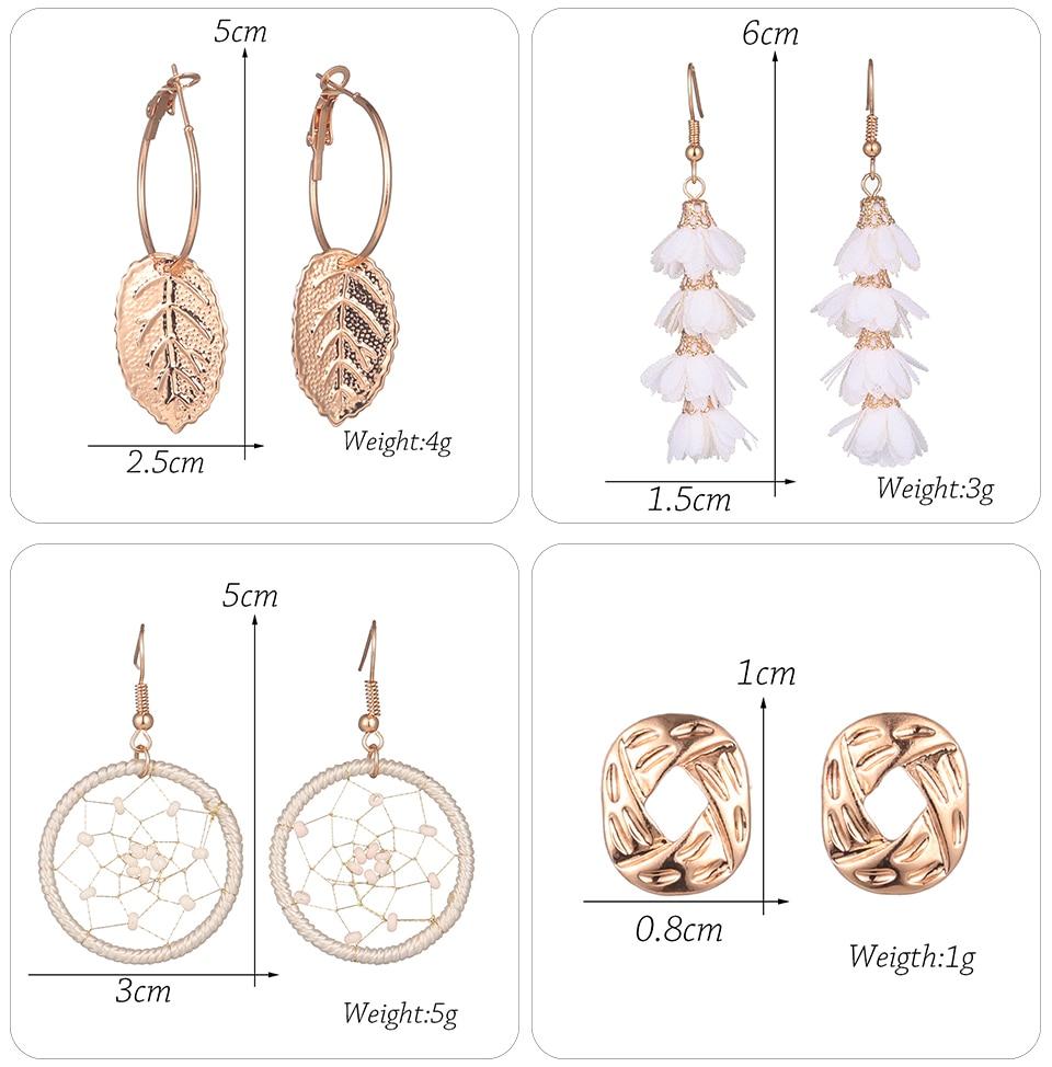 Bohemia Silver Earrings Set Vintage Ethnic Long Round Leaf Tassel Wedding Water Drop Earrings for Women Girls Statement Jewelry (1-1) (11)