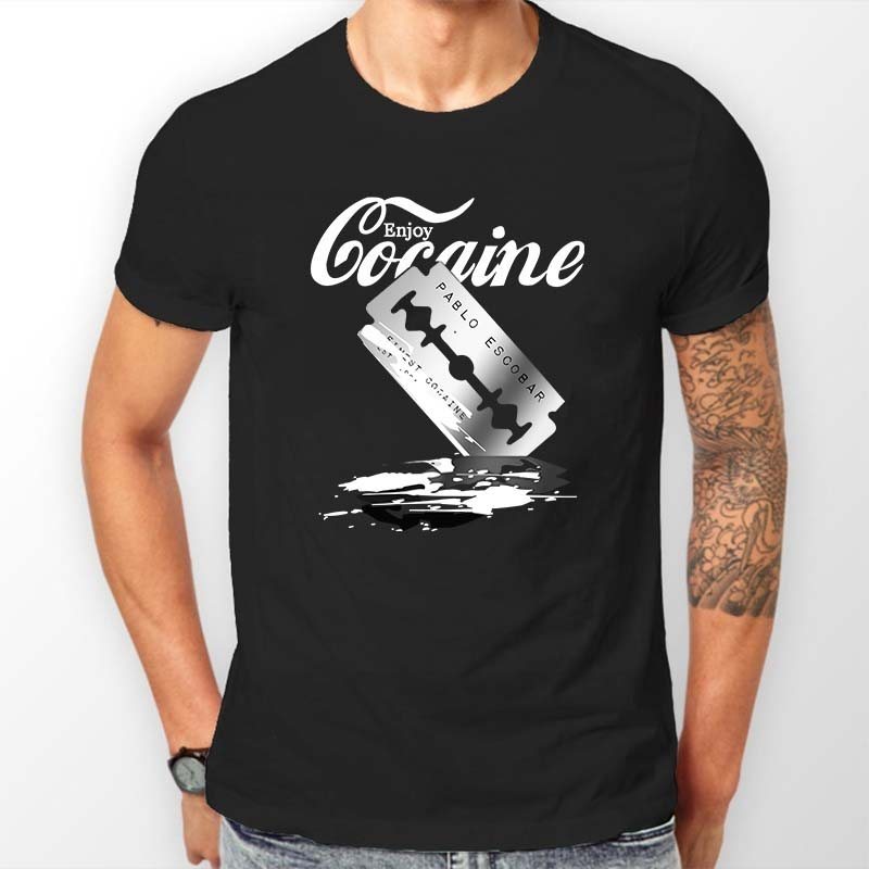 Men T Shirt Summer Fashion Tee O Neck Pablos Finest Cocaine Escobar Blow 100% Cotton Black Short Sleeve Tops