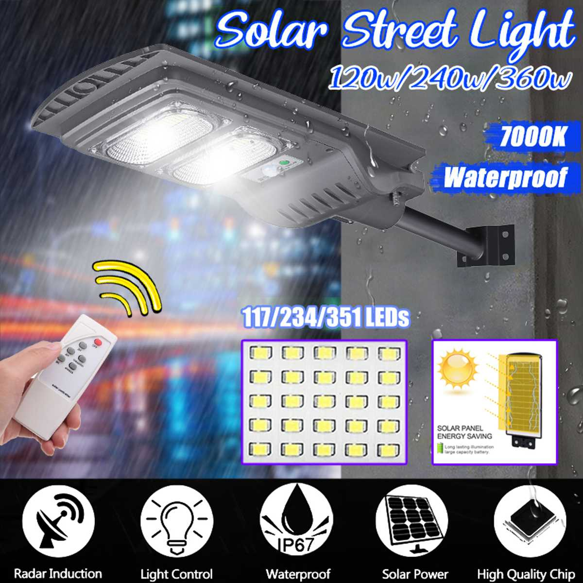 Smuxi 360W/240W/120W LED Gray IP65 Solar Street Light  Motion Constantly Bright Induction Solar Sensor Remote Control