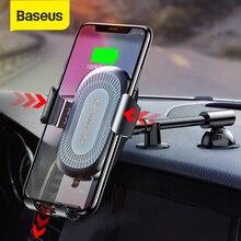 Baseus 10W تشى سيارة لاسلكية شاحن آيفون X 8 8 زائد الجاذبية سنادات بالسيارة موقف سيارة حامل هاتف سريع شاحن سامسونج S9 S8