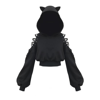 Gothic Hoodies Autumn Women 2020 Hooded Pullovers Long Lantern Sleeve Hooded Black Cat Solid Top Hollow Off Shoulder Pullover gothic hoodies autumn women 2020 hooded pullovers long lantern sleeve hooded black cat solid top hollow off shoulder pullover