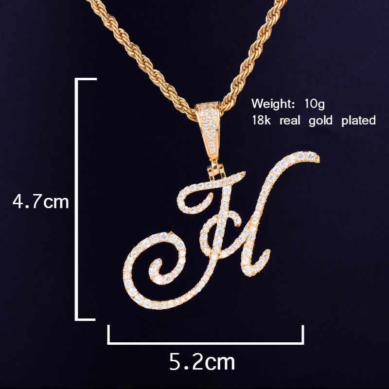 Złoto srebro Cursive zawieszka w kształcie litery naszyjniki urok męska moda damska Hip Hop Rock biżuteria z łańcuchem liny