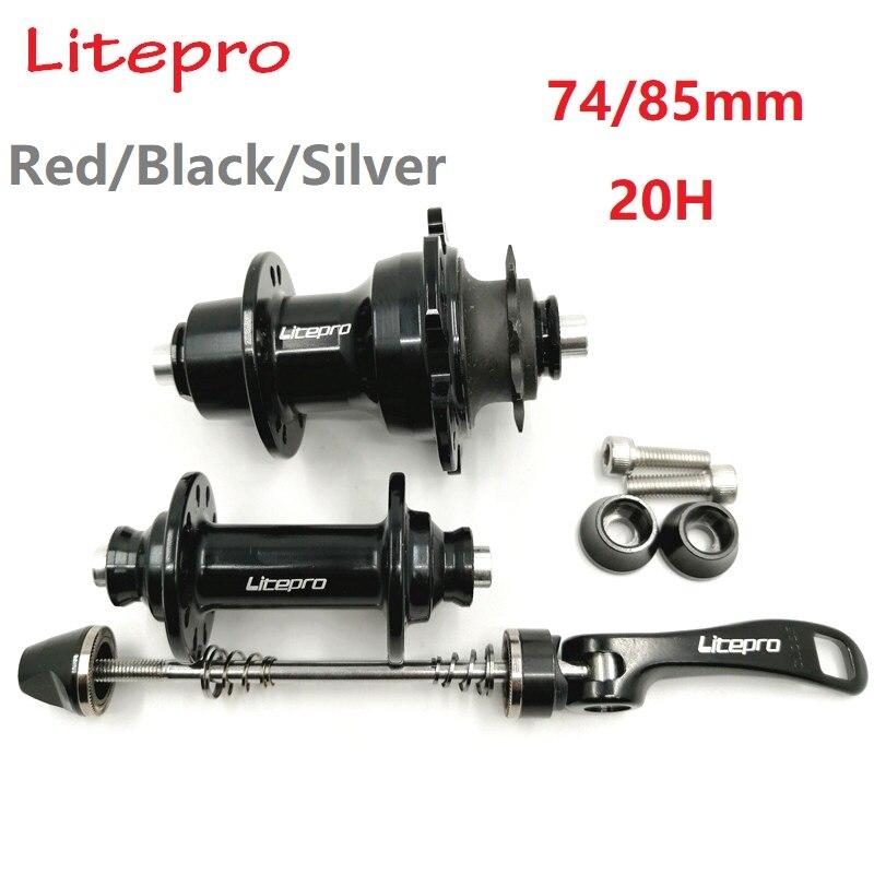 LITEPRO 74mm 85mm 20 Hole V Brake Bearing Hubs 14/16 inch Folding Bicycle Hub Front Rear Hubset 9T Freewheel Black-Silver-Red(China)