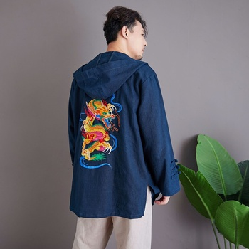 Embroidery Dragon Kimono Jacket Men Long Plus Size 5Xl Black Cotton Loose Hooded Coat Vintage Coat Traditional Chinese KK3224