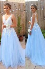 Backless V-neck Sexy Prom Dresses Blue Tulle With White Lace Party Dress Women Formal Gowns vestidos de fiesta de noche blazer sashes puff sleeve suits long blazers dress women vestidos de fiesta de noche vestidos party dress women