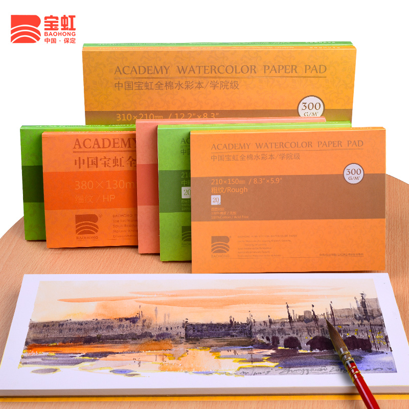 Baohong 300g/m2 Cotton Professional Watercolor Book 20Sheets Hand Painted Transfer Watercolor Paper For Artist Painting Supplies