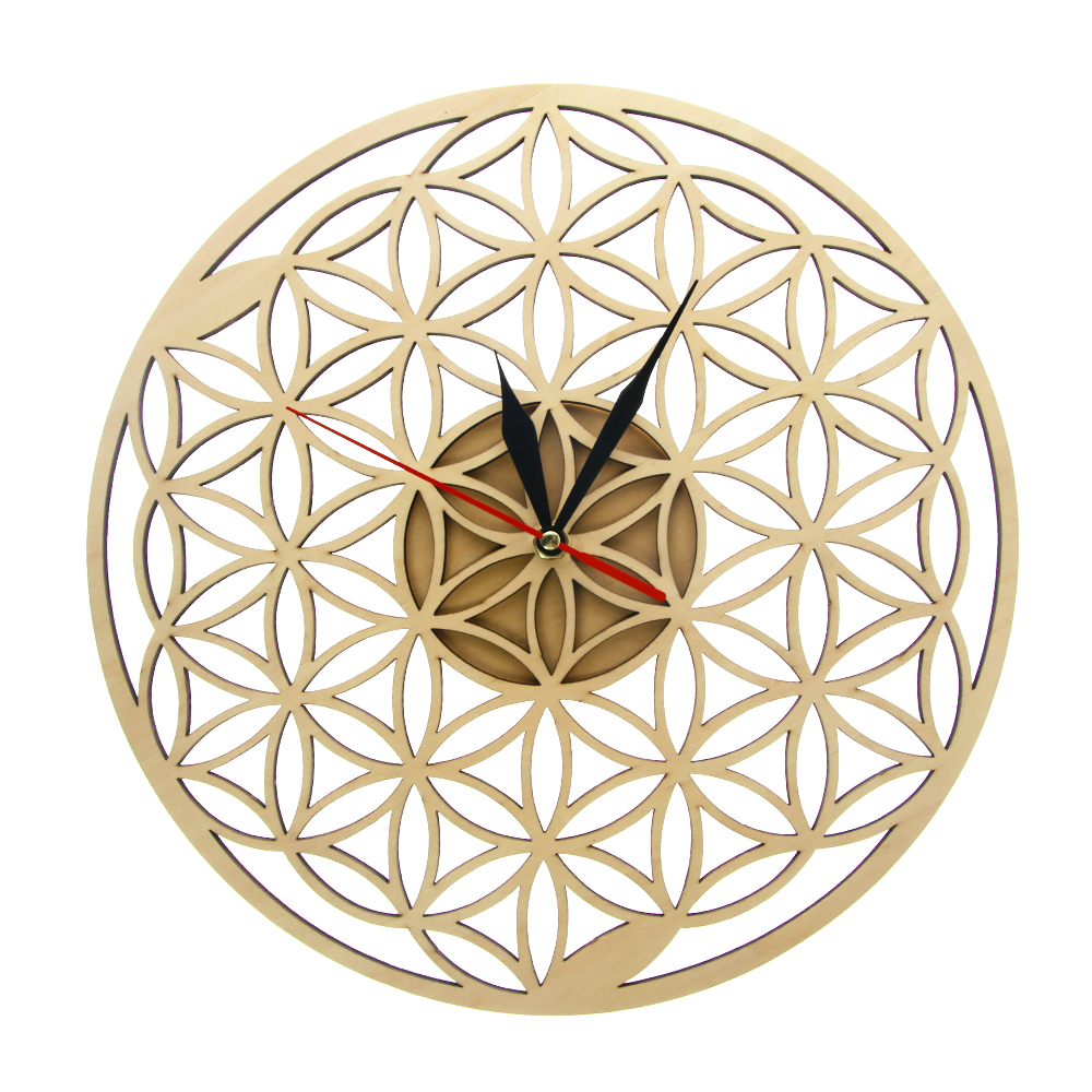 Flower Of Life Intersect Rings Natural Wooden Wall Clock Laser Cut Clock Modern Geometric Room Decor Silent Sweep Time Watch