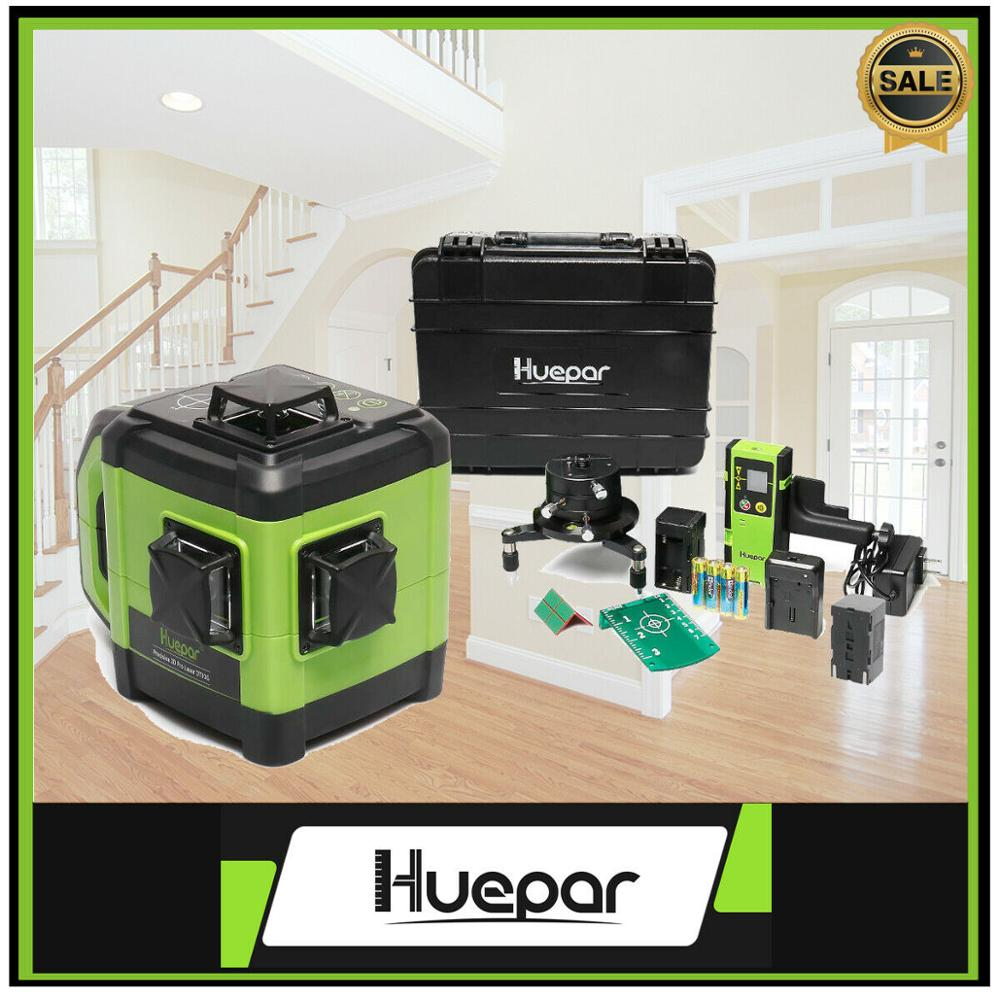 Huepar Electronic Laser Level Self Leveling Green Beam Three-Plane Leveling 130Ft