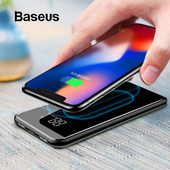 Cargador inalámbrico Baseus 8000mAh QI para iPhone Samsung, Cargador USB Dual, batería externa inalámbrica