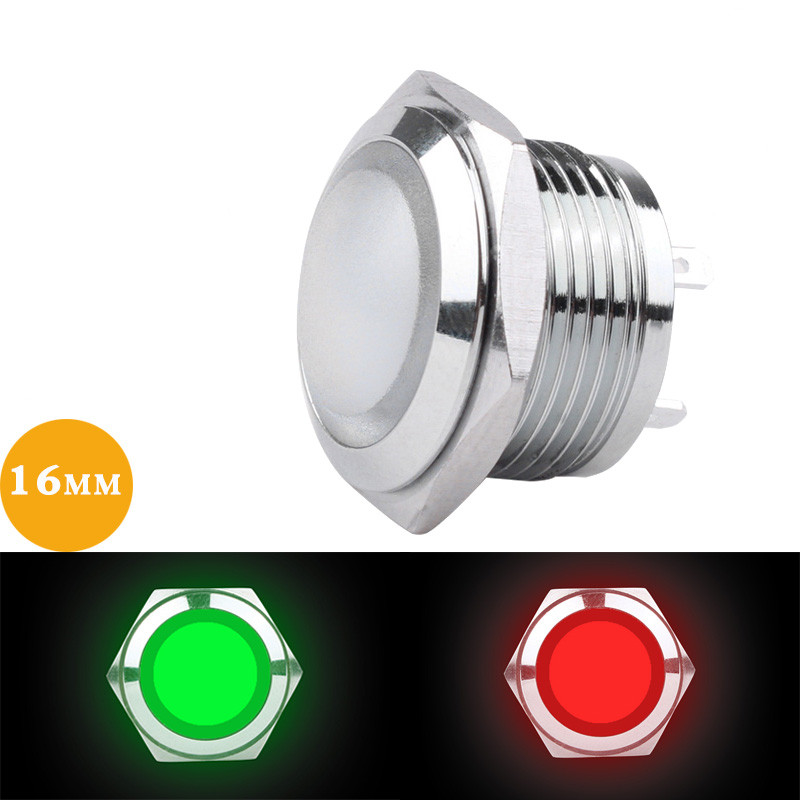 1pcs 16mm Metal Indicator Light Red Green Yellow White Blue LED Power Signal Lamp 3V12V24V220V Support Customized Two-color Lamp