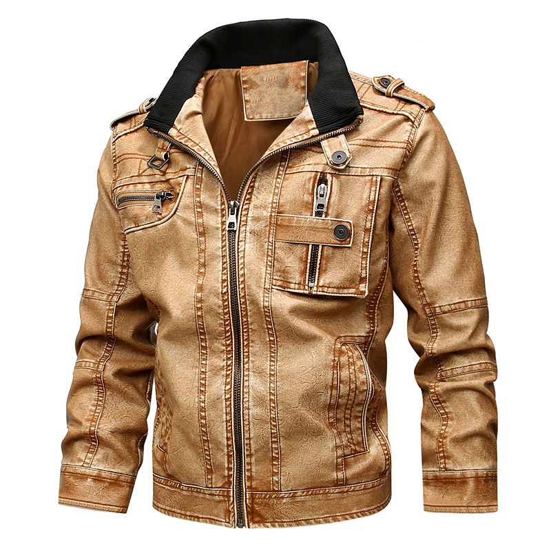 Men's Fashion Large Size Locomotive PU Leather Jacket Men's Plus Suede Leather Jacket Men's Faux Fur Pu Leather Jackets
