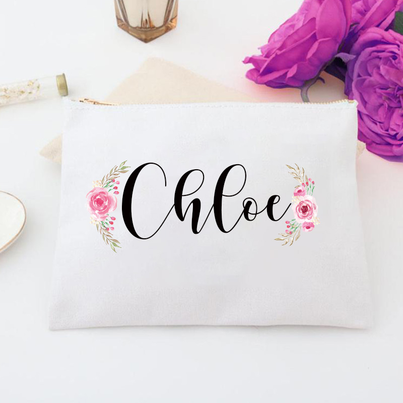 Personalized Fall Floral Cosmetic Bag Wedding Bags Custom Name Monogram Makeup Bag, Bridal Custom Case Personalized Toiletry Bag