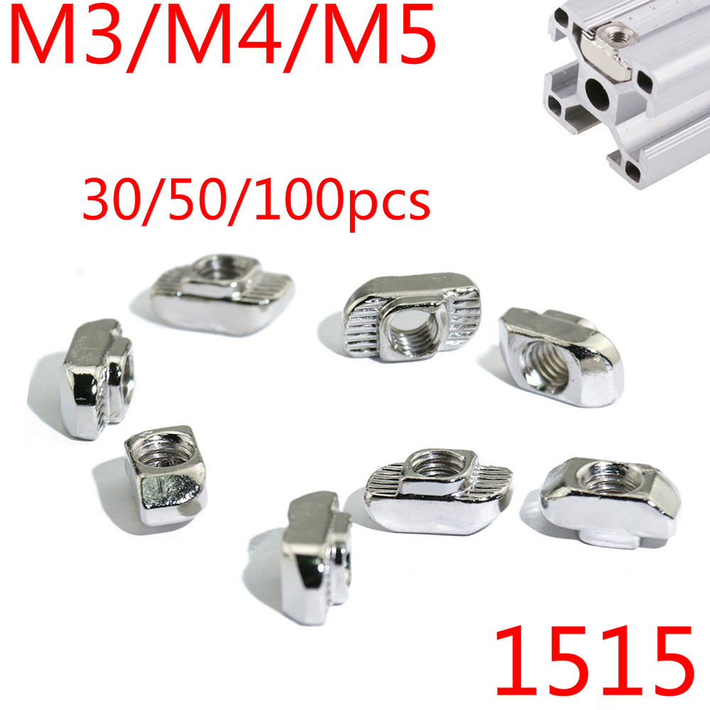 <font><b>1515</b></font> Aluminum Profile with Slot Groove M3/M4/M5 Nickel Plated T Bolt Hammer Head Nut 30/50/100pcs image