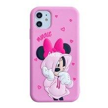 Custodia morbida in Silicone Disney per Iphone 11 Pro XS MAX XS XR 7 8 3D Mickey Minnie Cartoon stampa custodie per telefoni anticaduta zz0610