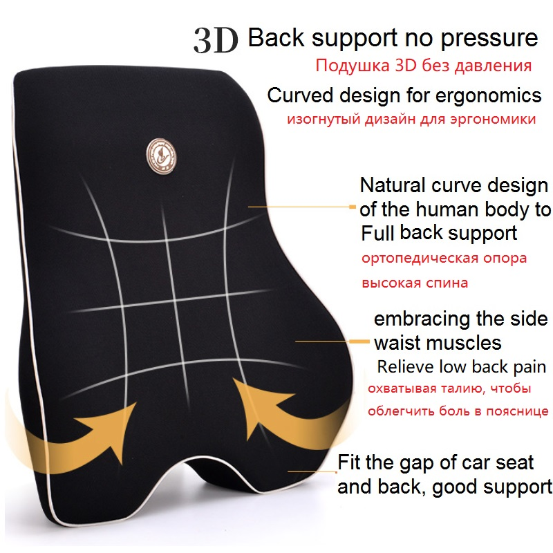 Lumbar Cushion Pillow For Car Seat And Office Chair To Relieve Low Waist Pain 2