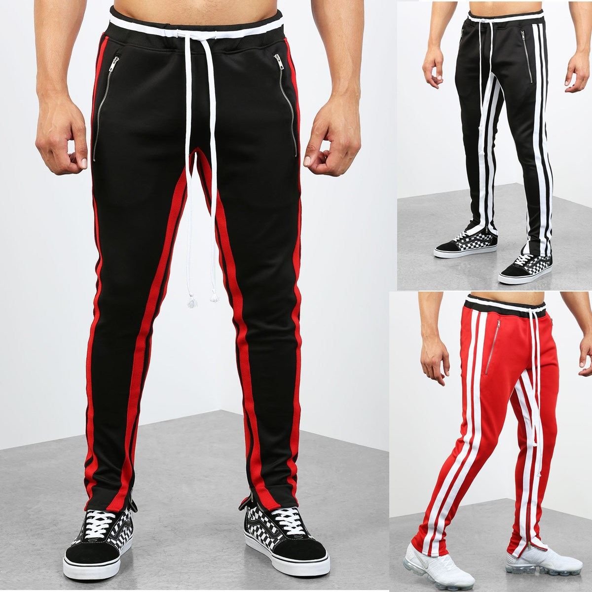 Men Fashion 2019 Casual Athletic Pants Stripes Hip Hop Fitness Foot Mouth Zipper Pocket Patch Pocket Joint Trousers