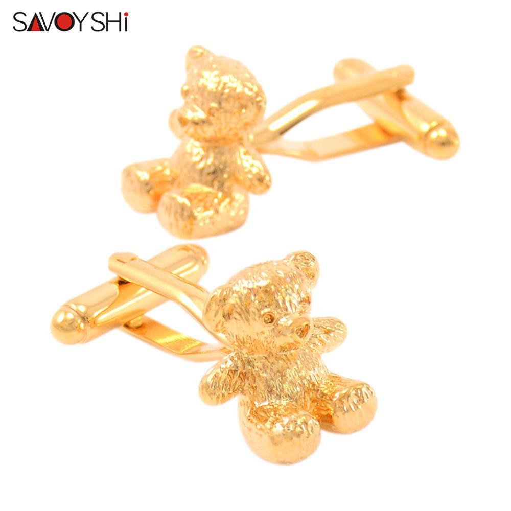 SAVOYSHI Lovely Teddy Bear Cufflinks For Mens High Quality Gold Silver Lifelike Animal Cuff Links Fashion Shirt Accessories