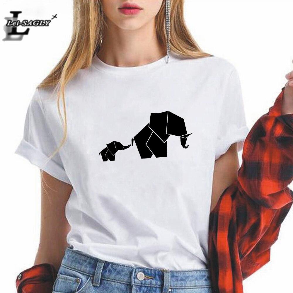 New T Shirt Women Harajuku Aesthetic Geometric Animal Elephant Vogue Casual Oversize Female T-shirt