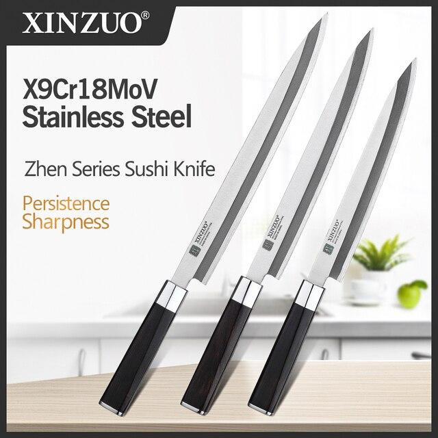 XINZUO 240/270/300 مللي متر السوشي سكين مع غطاء Scabbard X9Cr18MoV الصلب المطبخ السكاكين الساطور الساشيمي سكين خشب الأبنوس مقبض