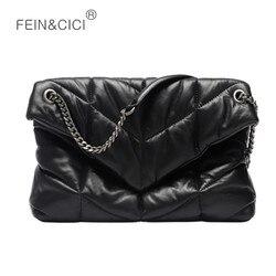 Женская сумка на цепочке с клапаном, Натуральная Воловья кожа, Стеганая пуховая сумка-мессенджер, черная большая сумка через плечо, высокое ...
