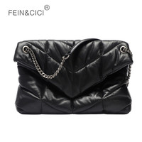 Women chains flap bag Genuine cowskin leather quilted puff messenger bag black big pillow crossbody bag high quality 2020 new
