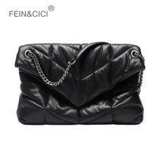 Luxo designer bolsa de ombro feminina corrente aleta crossbody saco acolchoado maxi puff saco do mensageiro preto grande travesseiro algodão para baixo
