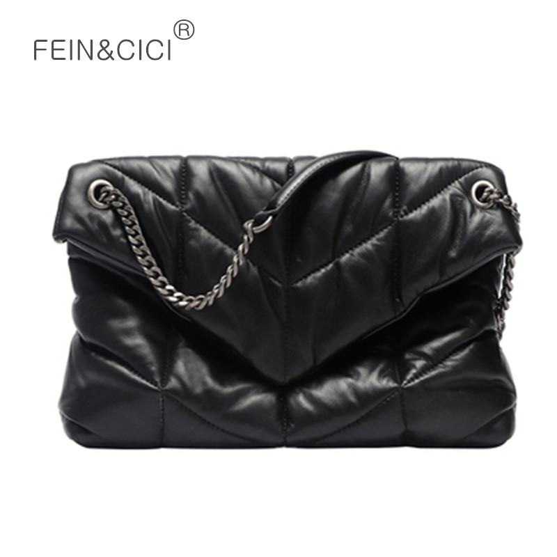 Women Chains Flap Bag PU Leather Quilted Puff Messenger Bag Black Big Pillow Crossbody Bag High Quality 2020 Spring Summer New