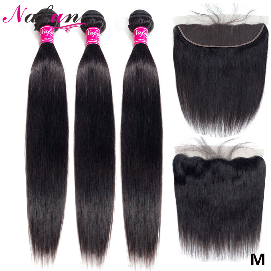 Nafun Brazilian Straight Hair Bundles With Frontal Human Hair Bundles With Closure Non-Remy Swiss Lace Frontal Closure