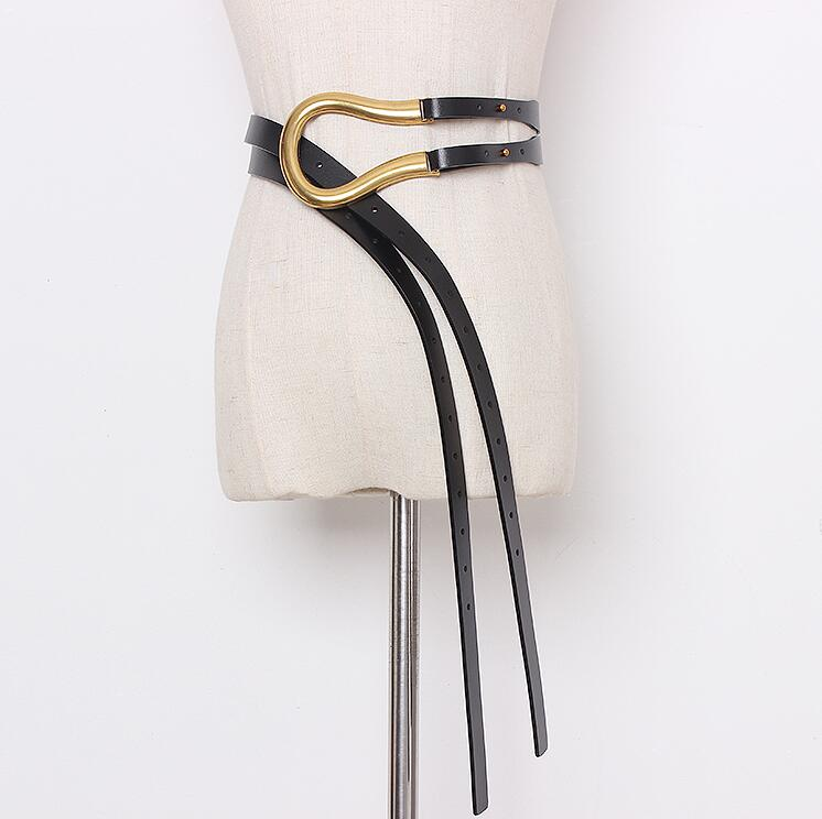 Women's Runway Fashion Genuine Leather Cummerbunds Female Dress Coat Corsets Waistband Belts Decoration Wide Belt R2177
