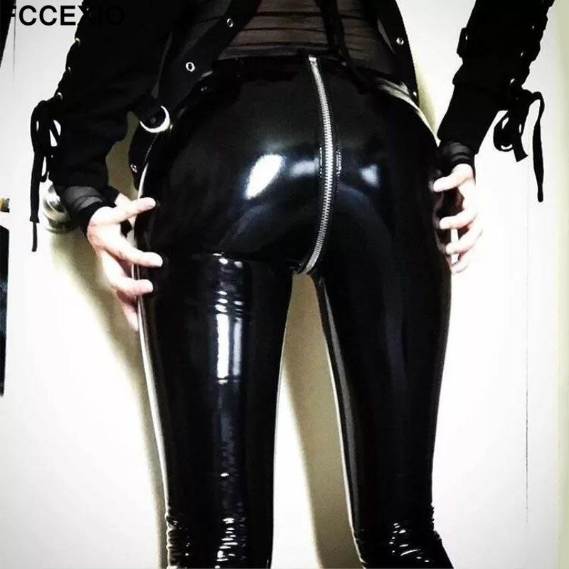 FCCEXIO Women Sexy Shiny PU Leather Leggings With Back Zipper Push Up Faux Leather Pants Latex Rubber Pants Jeggings Black Red