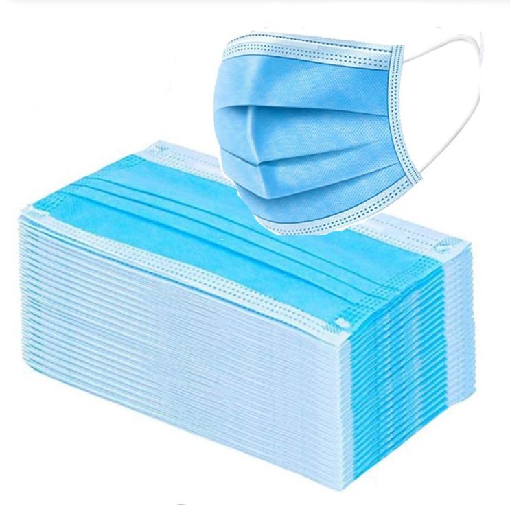 50-100pcs 3 Layer Disposable Facial Mouth Masks Elastic Protective Face Mask Non-woven Anti Dust Respirator Surgical Mask