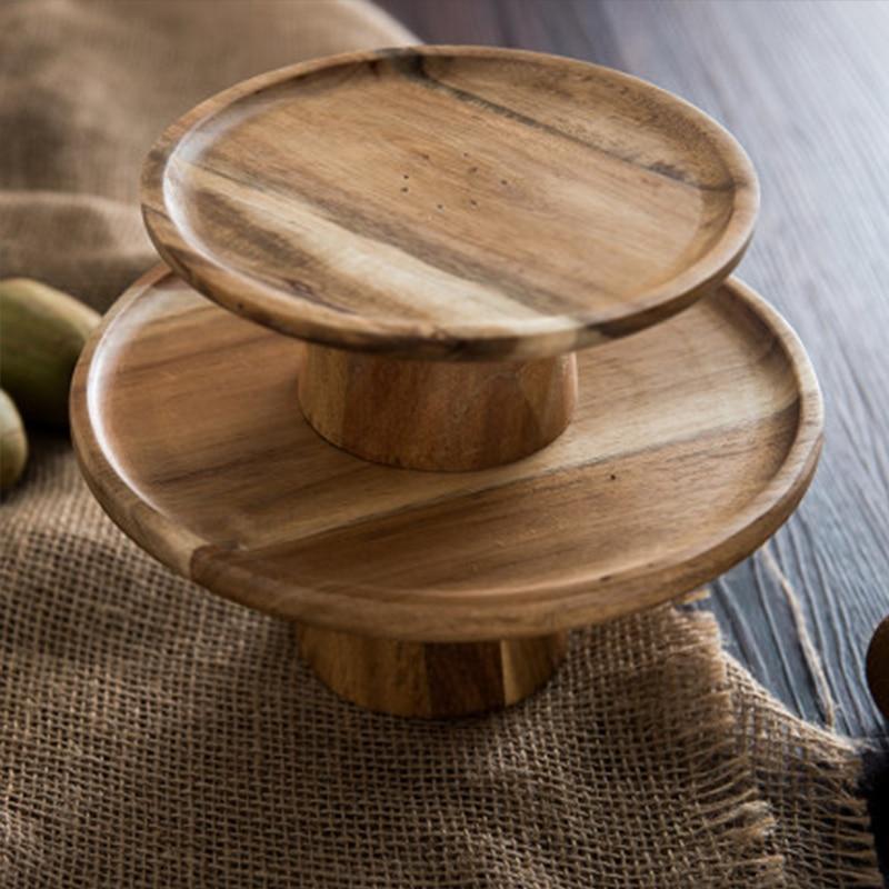 Деревянная тарелка для торта с высокой подставкой, креативные подносы для сервировки еды, многоцелевой экологичный фруктовый десерт из наурального дерева, поднос для закусок, домашний декор-4