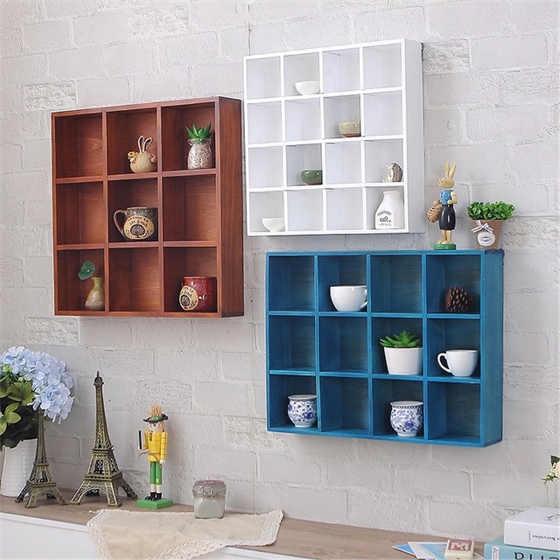 Nordic Solid Wood Storage Rack Wall-mounted Bookshelf 16 Grids Wooden Wall Shelf Creative Bedroom Living Room Metope Bookcase