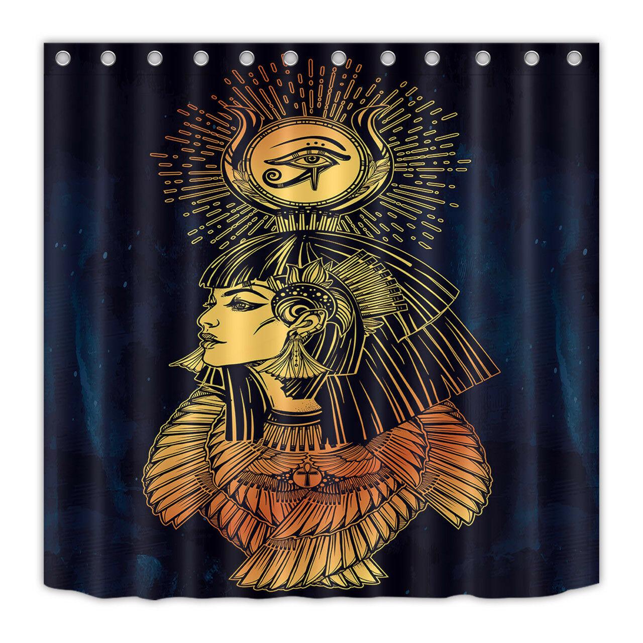 Conjunto impermeável do forro da cortina de chuveiro da deusa egípcia da beleza da tela