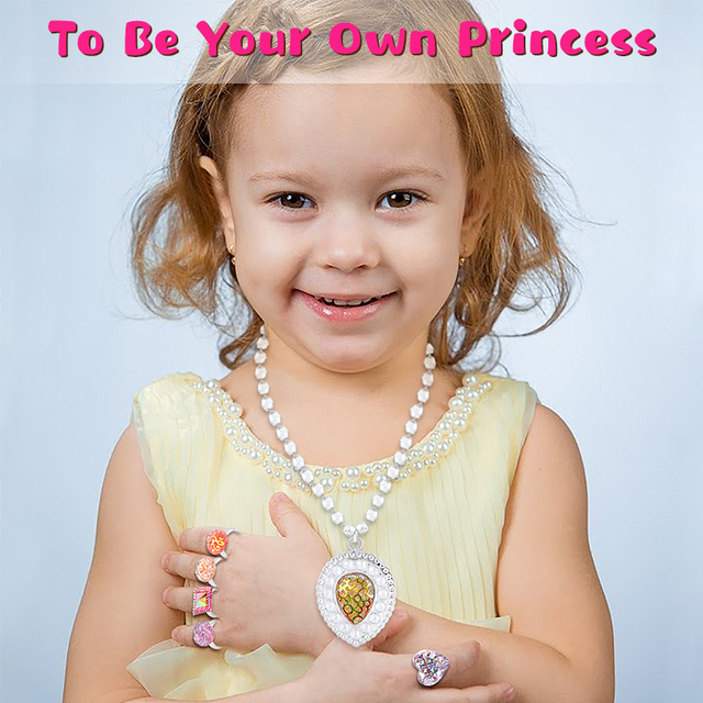 42Pcs Princess Jewelry Play Set Dress Up for Kids with Rings Earrings Necklaces Bracelet Bag Girl Gift Birthday Party Supplies 4