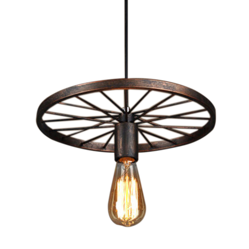 ELEG-Retro Iron Light Industrial Lamp Nordic Metal Wheel Lights Hanging Lamp E27 Indoor Lighting Ceiling Light Home Decor