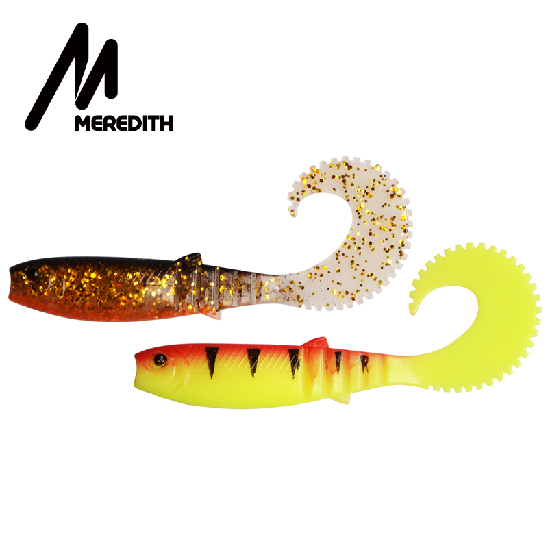 MEREDITH Cannibal Curved Tail 90mm 110mm Fishing Soft Lure Lifelike Soft Artificial Lure Soft Baits Wobblers Fishing Tackle