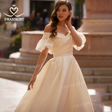 Wedding-Dress Lantern-Sleeve Bridal-Gown Satin Sweetheart Romantic Swanskirt Princess