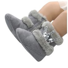 Toddler Kid Baby Girls Cute Crown Bling Winter Warm Snow Boots Casual Shoes(China)