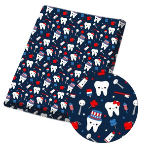 IBOWS Polyester Cotton Fabric Tooth Care Theme Printed Cloth Fabric For Patches Dress Home Textile Handmade DIY 45*150cm/pc