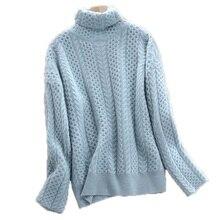 สูงเสื้อกันหนาวCashmereหญิงหนาหลวมเสื้อกันหนาวTwistedถักเสื้อกันหนาวเสื้อผ้าผู้หญิงขนาดใหญ่