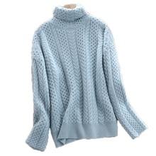 Wysoki kołnierz kaszmirowy sweter żeński gruby luźny sweter sweter twisted knit wydłużony sweter duży rozmiar odzieży damskiej