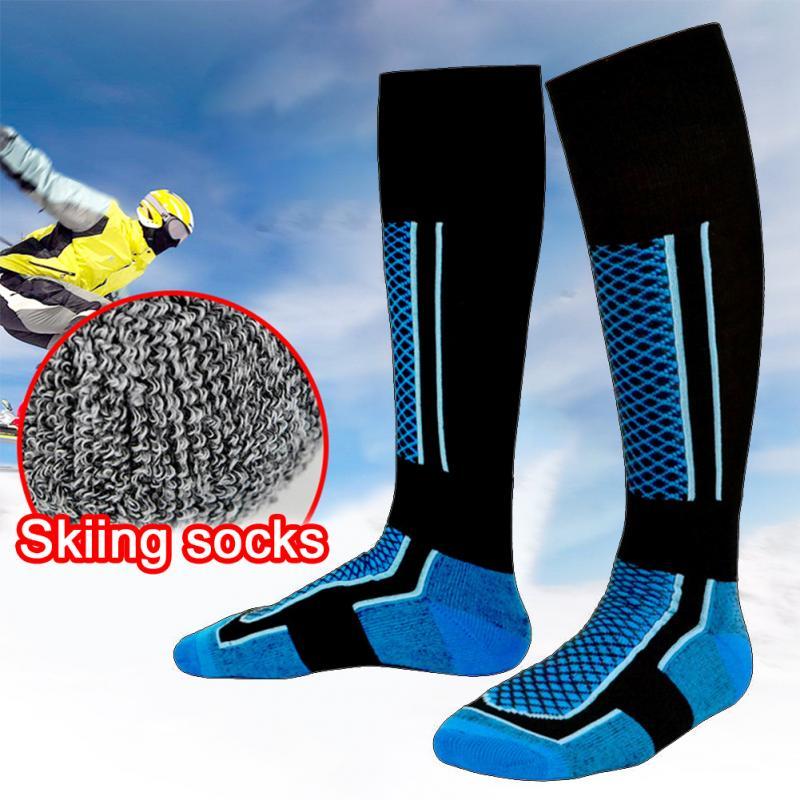 1 Pair Unisex Ski Socks Winter Warm Long Socks Men Walking Hiking Sports Towel Socks Wearproof Thermal Breathable Knee High Sock
